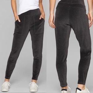 Athleta Velour Velluxe Jogger Pants Ankle Zip Gray